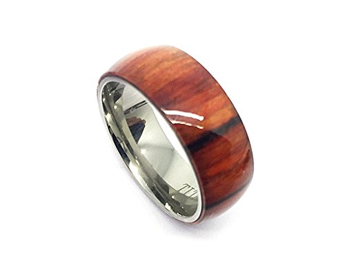 Titanium With Pure Light Brown Cherry Hawaiian Koa Wood Domed Ring For Men