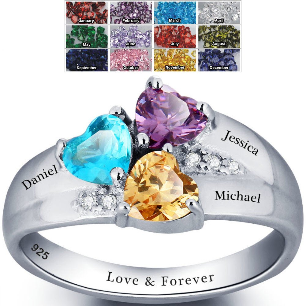 Mothers day birthstone rings