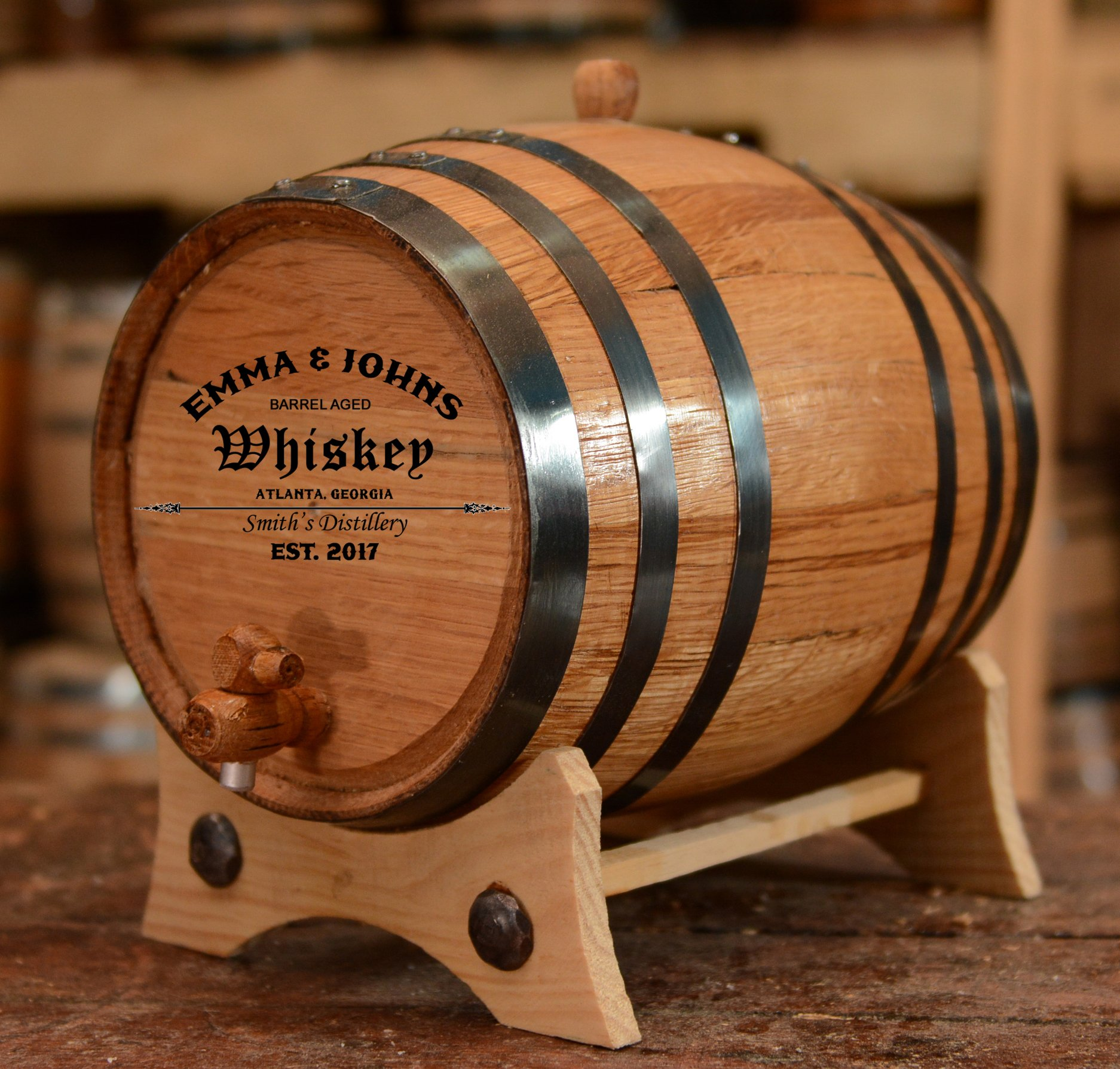Personalized American White Oak Aging Barrel for fathers day ideas