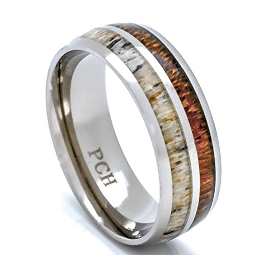 Deer Antler and Koa mens wood rings