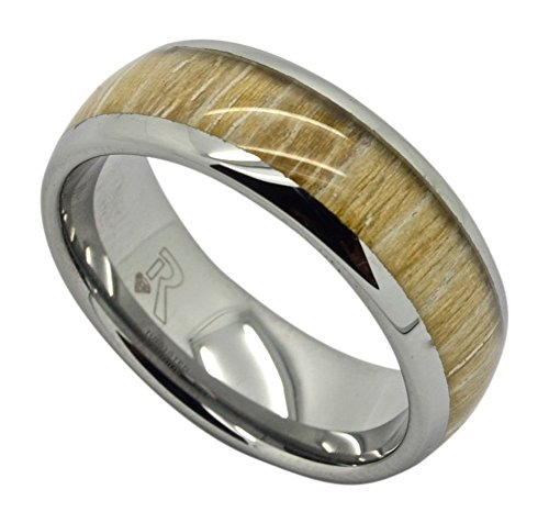 Mens Tungsten Ring with Sandalwood Inlay Ring