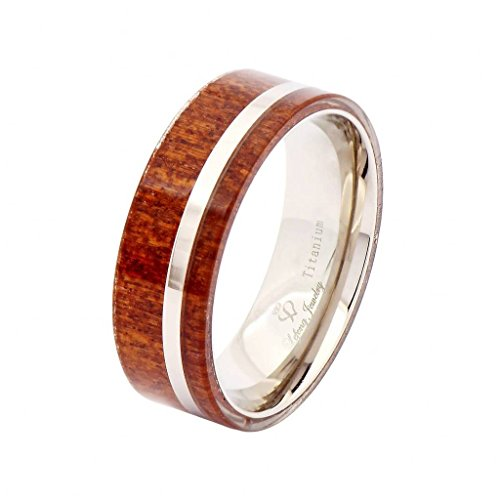 Titanium and Hawaii Koa men wood ring