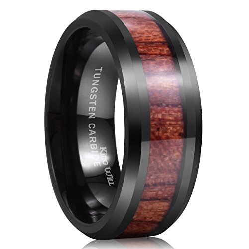 Black Tungsten Carbide Wood mens wedding Ring