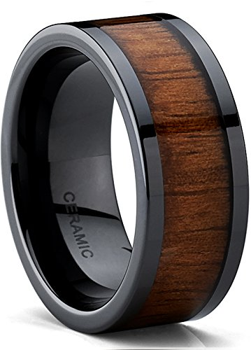Black Ceramic Flat Top Wedding Ring with Real Koa Wood Inlay