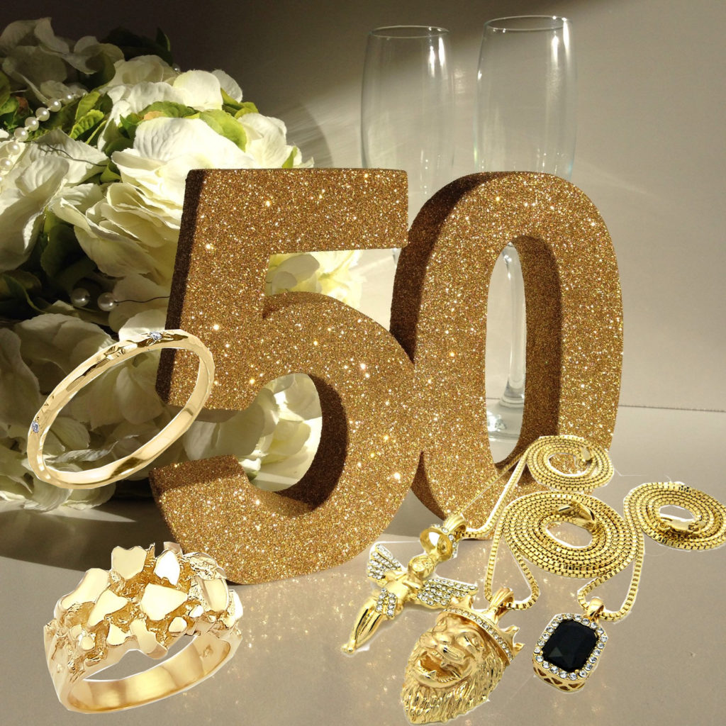 Gold gifts for 50th Anniversary