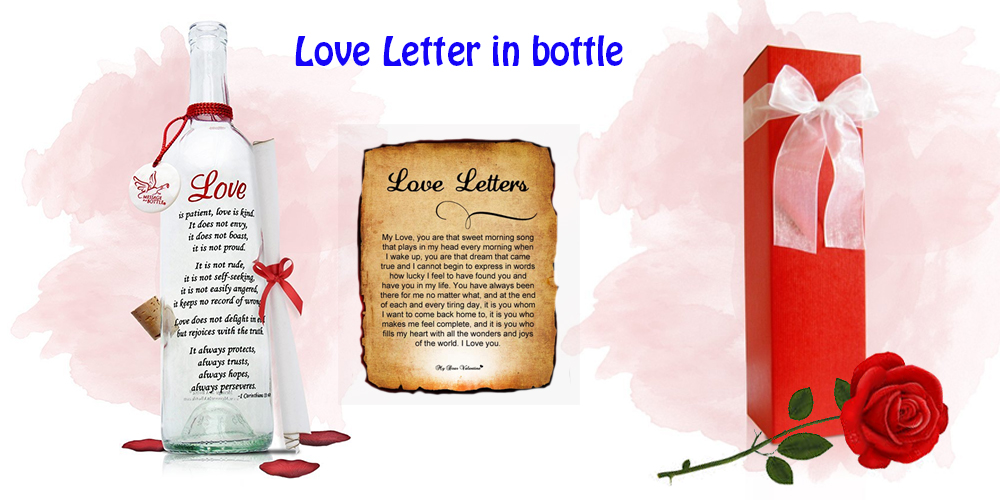 Love letter in bottle for his birthday Gift
