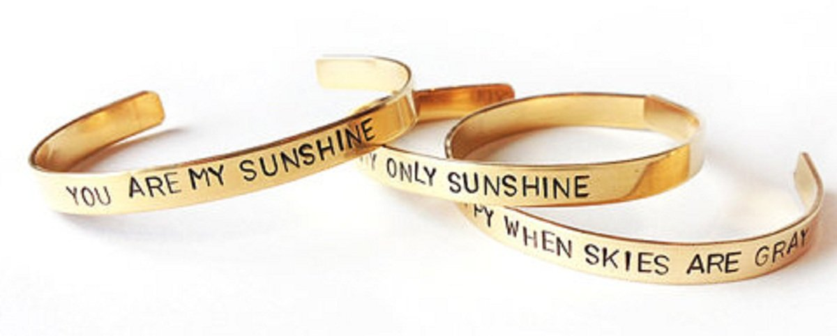 Inspirational quote hand stamped mother daughter bracelet set
