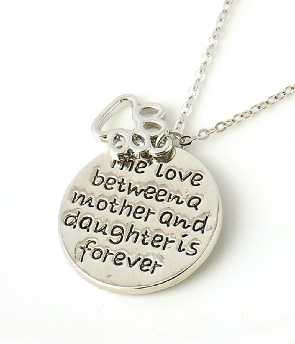 The Love Between Mother and Daughter Is Forever Silver Necklace with Dog Footprint