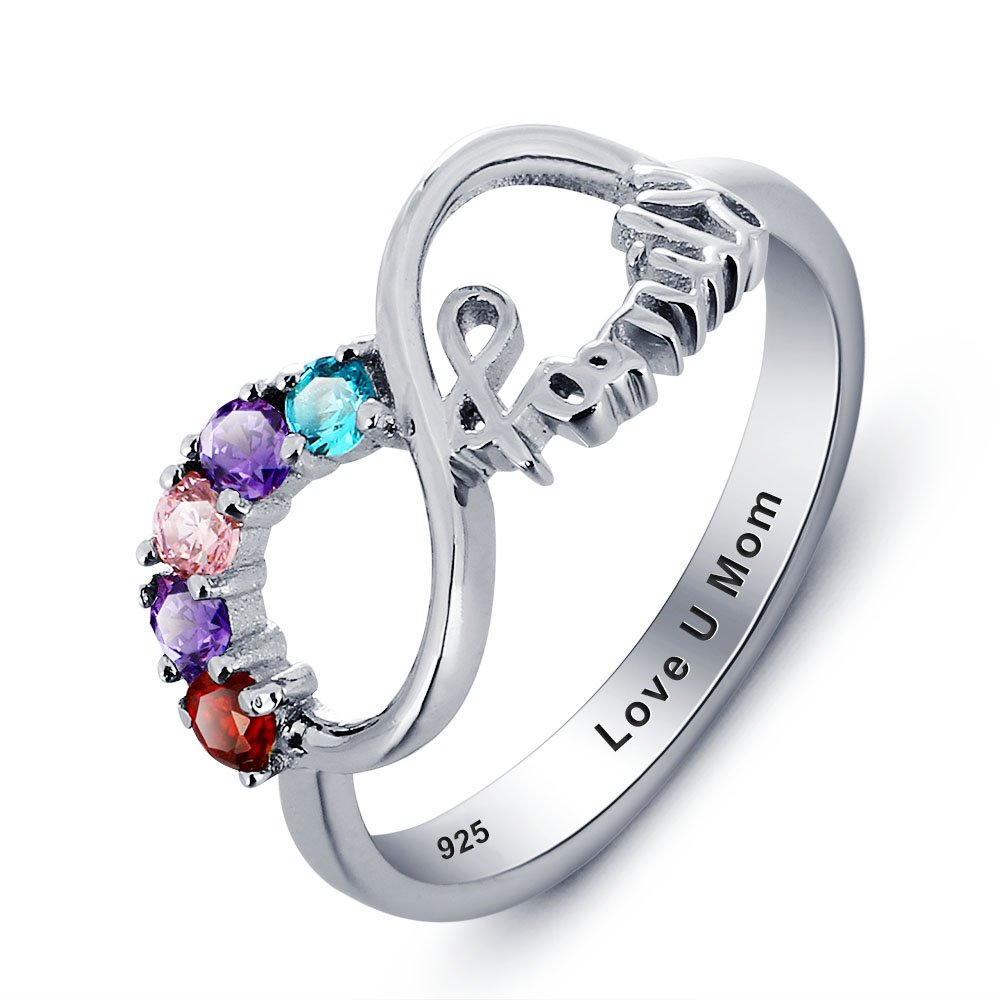 Birthstones Mother and daughter rings