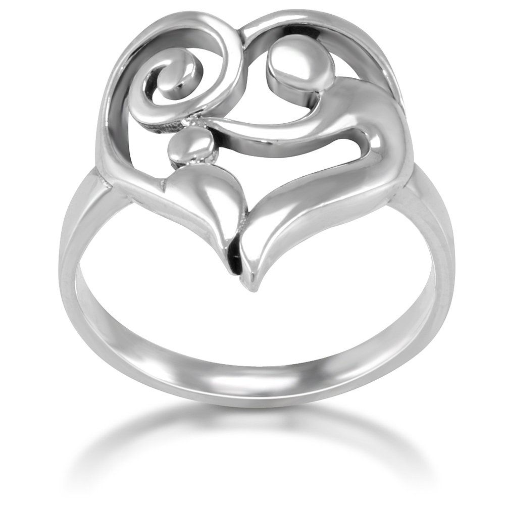 Heart mother daughter ring