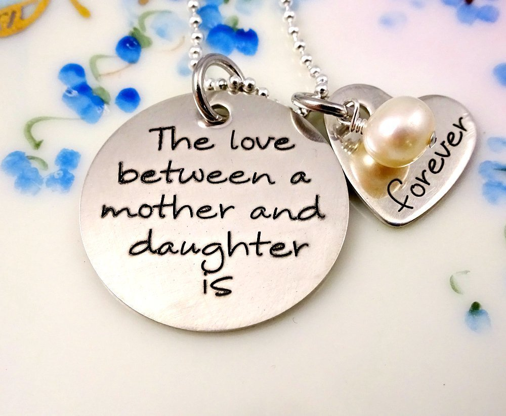 Engraved Love Between A Mother and Daughter Is Forever Pearl Necklace