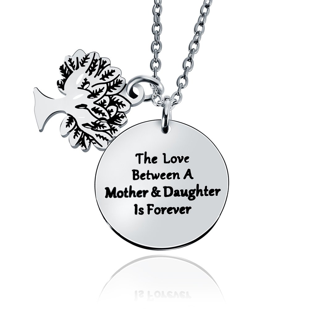 Double Pendant Mom Necklace Gift Mother Daughter is 4ever Family