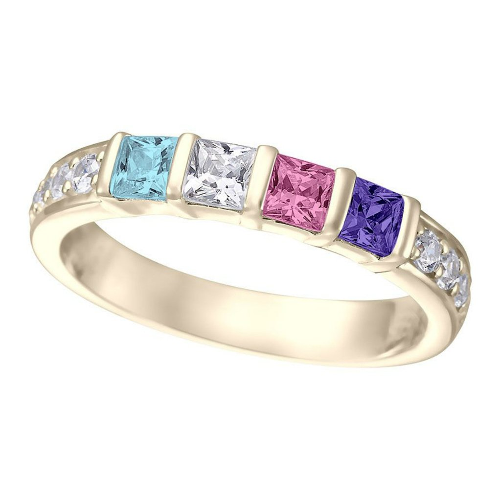 Birthstones mother daughter ring