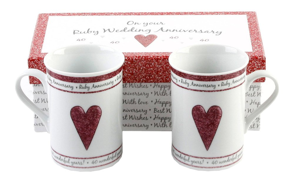 Ruby Anniversary Ceramic Mug Set for Couple
