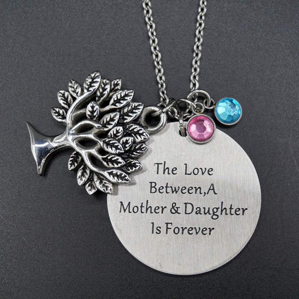The Love Between Mother and Daughter Is Forever Necklace Jewelry with Heart Charm Pendant