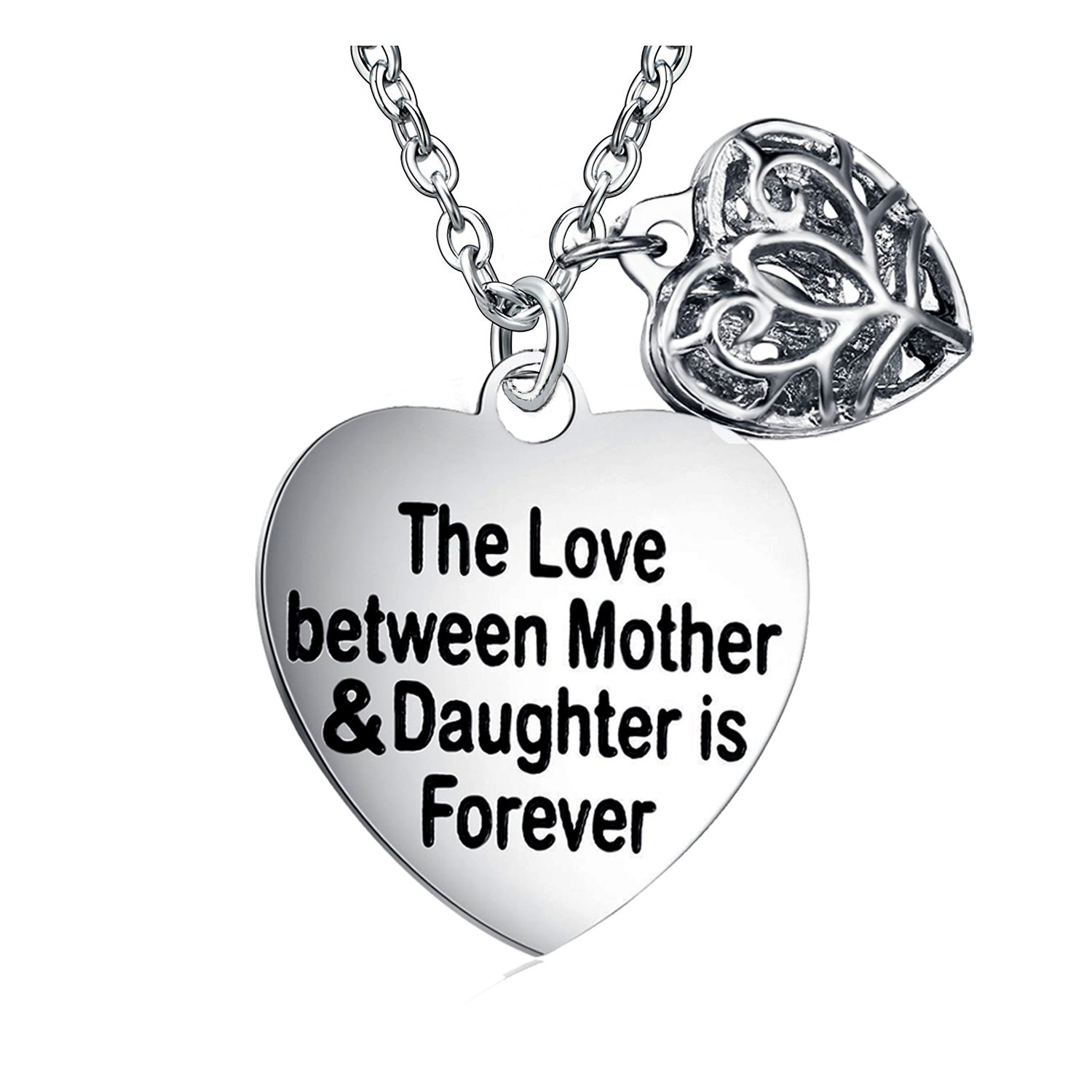 The Love Between Mother and Daughter Is Forever Heart Charm Necklace