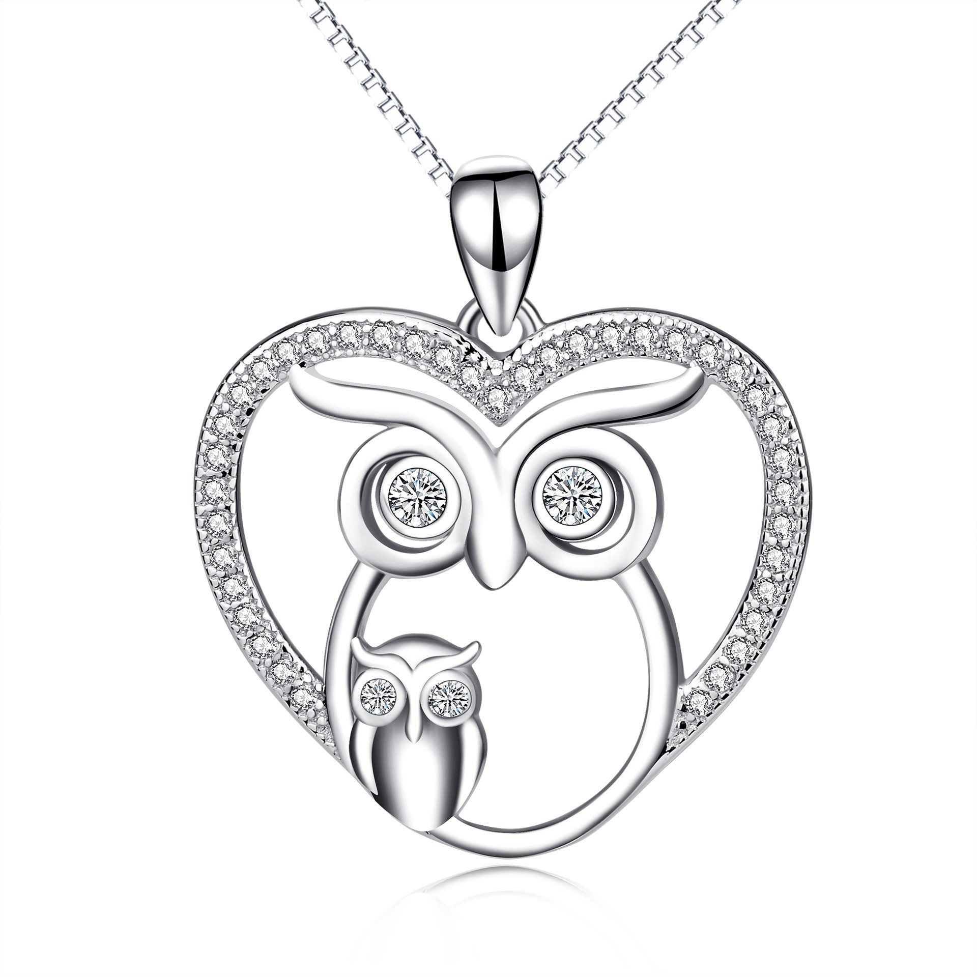 Owl Mother daughter necklace set