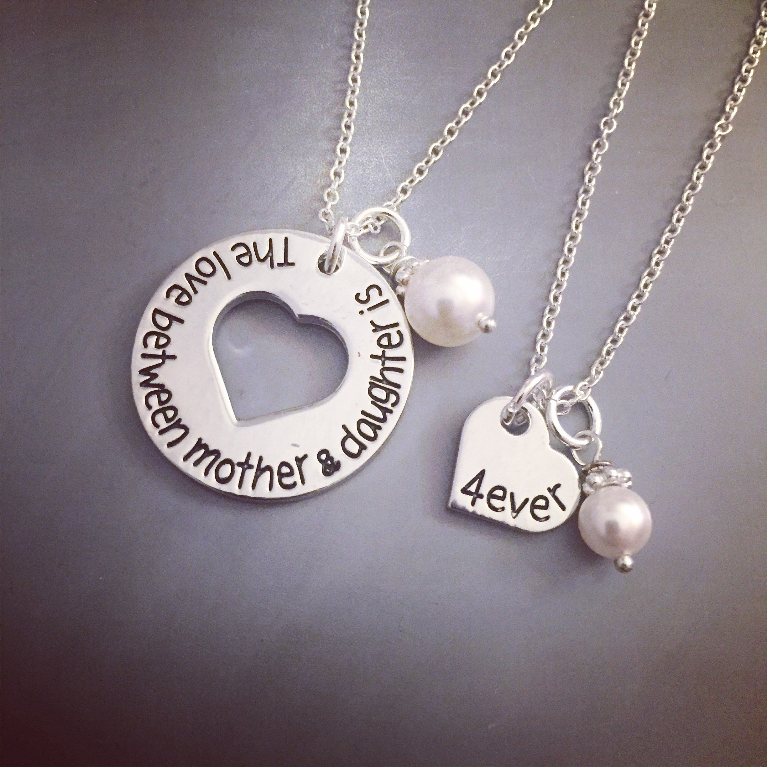 Hand Stamped Mother and Daughter Necklace Set
