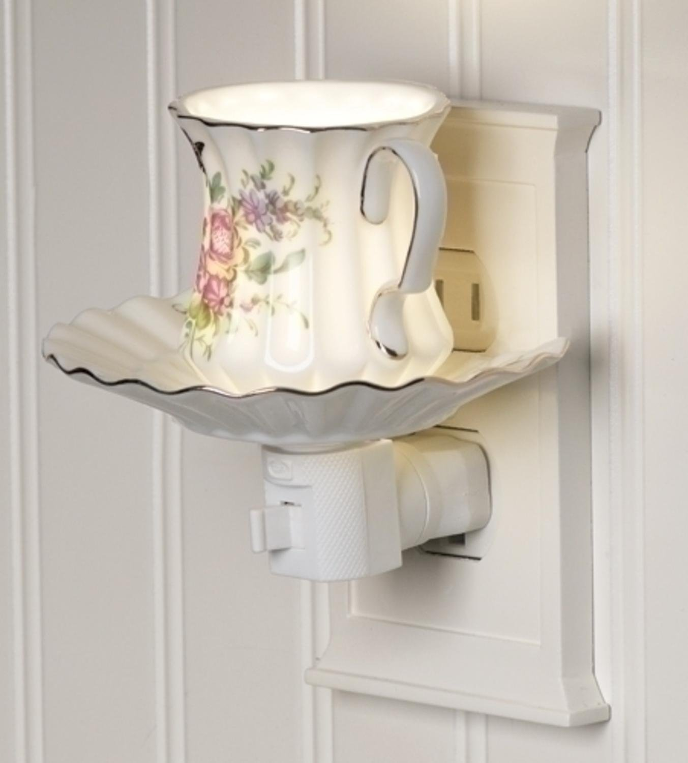 Rose Flower Tea Cup and Saucer Ceramic Night Light Image