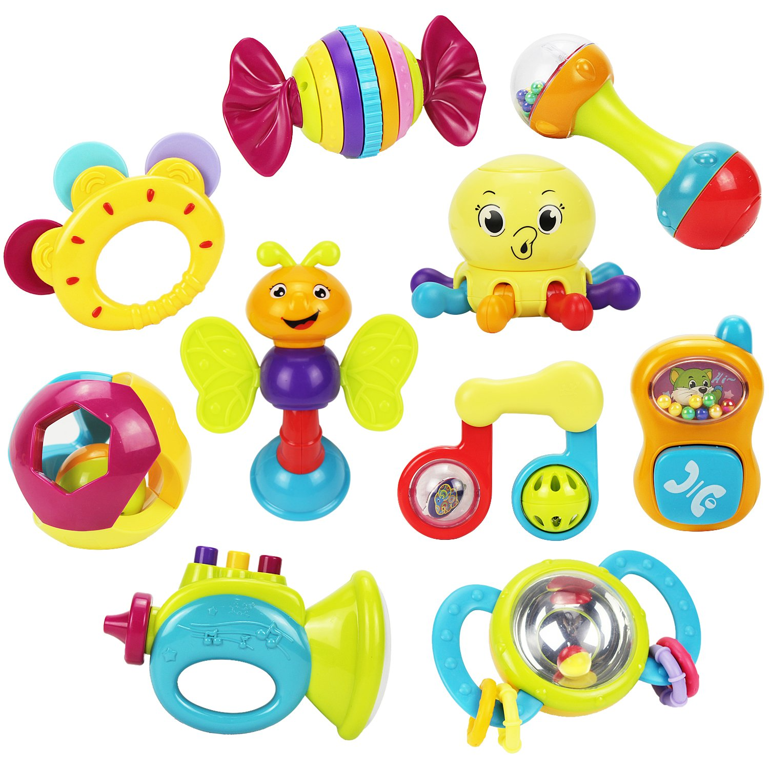 Teether toys of different textures for baby