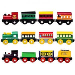 12 Piece Wooden Train Cars Magnetic Set Image