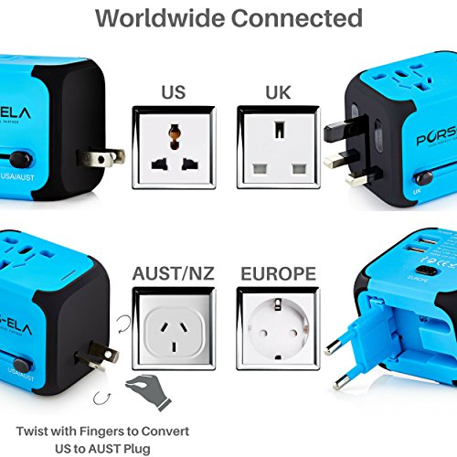 International Adapter plugs plus charger for traveler
