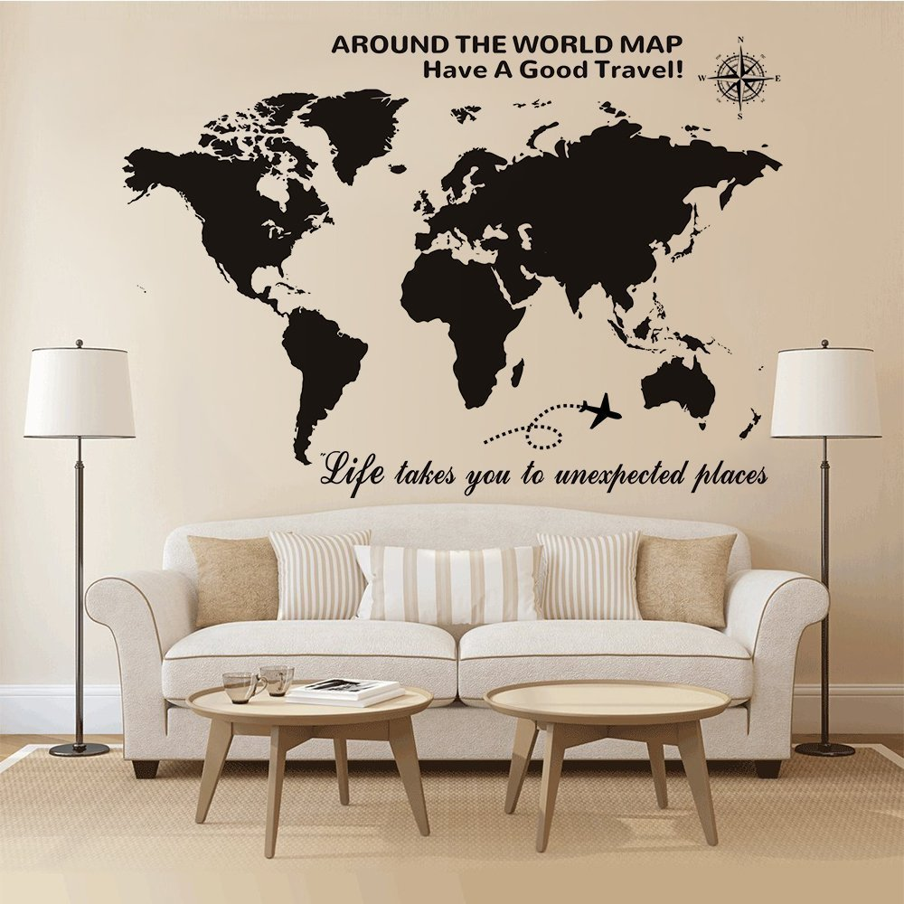 Large World Map Wall Decal gifts for travel lovers