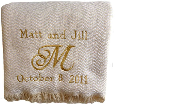 Embroidered and Personalized Cotton Herringbone Blanket