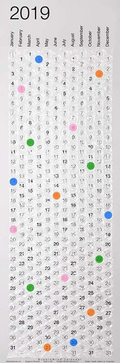 2019 Bubble Wrap Calendar