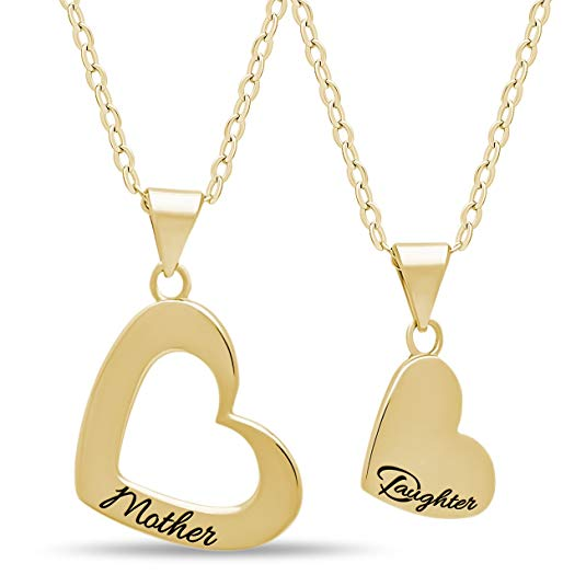 Gold over Solid Silver Heart Necklaces for Mom and Daughter