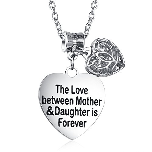 Love Between Mother and Daughter Is Forever Heart Charm Necklace