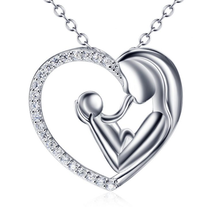 Mothers Child Love Heart Sterling Silver Heart Pendant Necklace