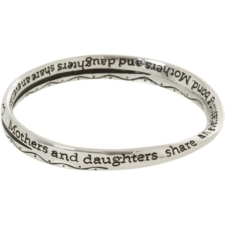 Mothers and Daughters Share an Everlasting Bond Silver Tone Twist Bangle Bracelet