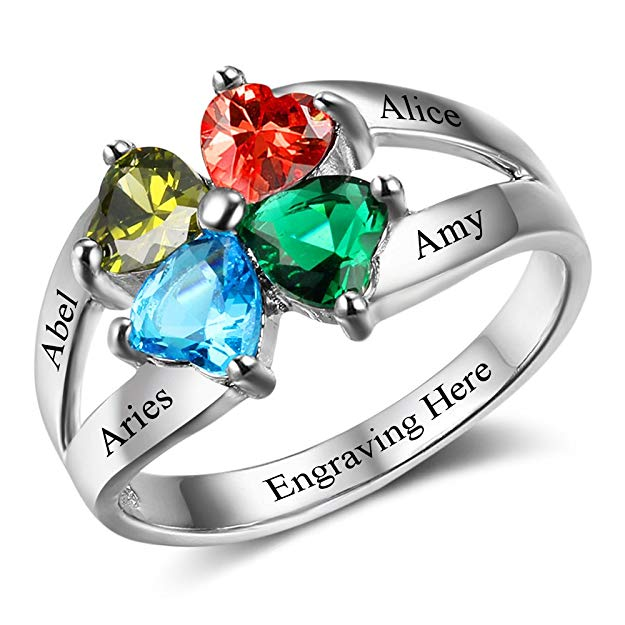 Personalized Gift for Mommy Engrave 4 Names 4 Children Simulated Birthstone Promise Rings