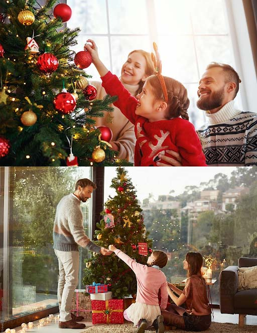 Decorating Christmas trees with family members